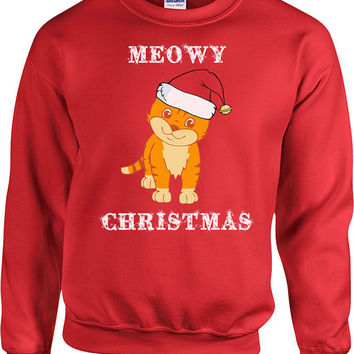 Funny Christmas Sweater Meowy Christmas Hoodie Gifts For Cat Lovers Christmas Sweatshirt Cat Sweater Presents For Xmas Gifts For Her - SA503
