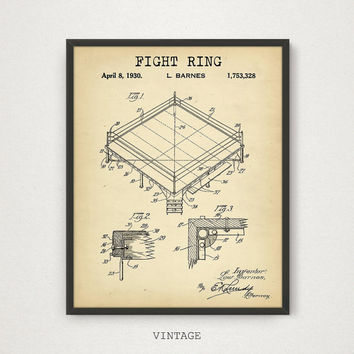 Fight Ring Boxing Patent, 4 COLORS Printable, Boxing Poster Print, Fight Stage, Fight Club, Boxing Patent Digital Download, Boxer Fan Gift,