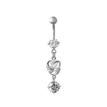 Triple Gem Heart Dangle Charm WildKlass Belly Ring (14g 7/16s)