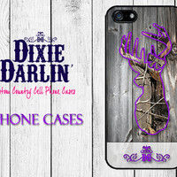 Rustic iPhone 6 / iPhone 6+ / iPhone 5/5s / iPhone 5c / iPhone 4/4s / Country Chic Phone Case - Barn Wood Purple Buck & Bow (CP0305)