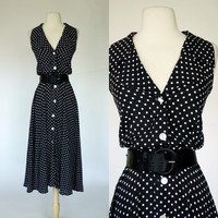 1980s polka dot dress, sleeveless long rayon black and white dress w/ belt and button up front, Dani Max, fit and flare, Large, size 10