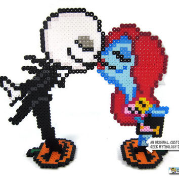 Nightmare Before Christmas Jack and Sally Pixel Art Wedding Cake Toppers Halloween