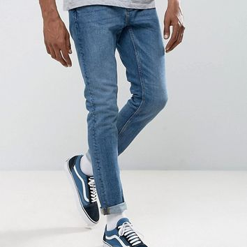 Pull&Bear Slim Jeans In Vintage Blue Wash at asos.com