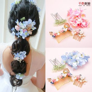 One Set handmade hair combs+hair sticks floral crystal beads hairpins pearl hair ornaments wedding accessories Gifts  xiuyao