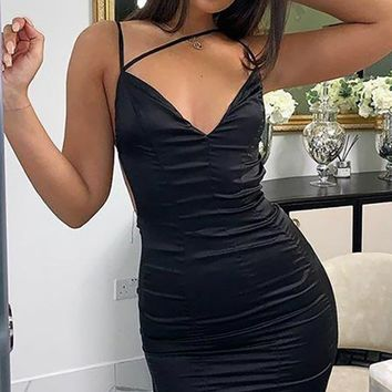 Steamy Nights Sleeveless Spaghetti Strap V Neck Backless Strappy Bodycon Mini Dress - 2 Colors Available