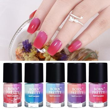 BORN PRETTY 9ml Peel Off Temperature Color Changing Glitter  Varnish Thermal Nail Polish Lacquer 8 Colors Optional Nail Art