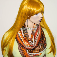 Bohemian Infinity Scarf, Paisley Velvet and Crochet lace Trim Scarf, Holiday Stocking Stuffer