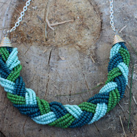 Braided Statement Necklace- Green Beaded Necklace, Blue Beaded Necklace, Seed Bead Necklace, Statement Necklace, Woven Necklace, Bead Collar