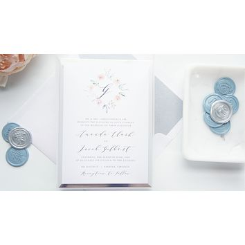 Floral Monogram Vellum and Wax Seal Wedding Invitation - SAMPLE SET
