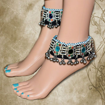 Multicolored glass stone anklet,Gypsy Belly dance jewelry,Afghan Jewelry,Anklet,Silver Bells anklet,Glass Beads Afghan silver anklet