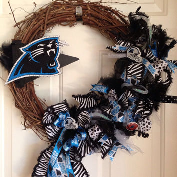 Carolina Panthers Wreath Grapevine with DecoMesh Accents, Panthers Wreath, Panthers Decor, Carolina Panthers, Door Wreath, Panthers fan