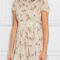 REDValentino - Floral-print crinkled silk-chiffon mini dress
