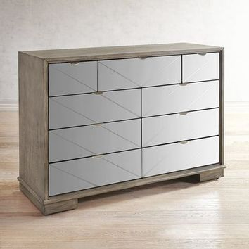 Pershing 9-Drawer Mirrored Dresser