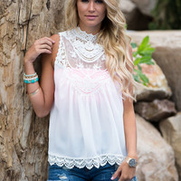 Sincere With Beauty Crochet Lace Top White