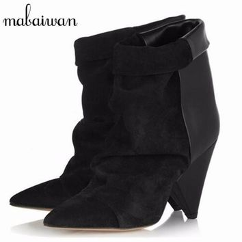 Mabaiwan 2017 Ankle Boots for Women Genuine Leather Short Booties Spike High Heel Boots Women Pumps Autumn Winter Wedge Shoes