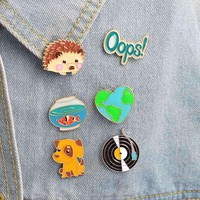 1Pc Cute Hedgehog/Dog/Record/Goldfish/Oops Design Metal Brooches Pins Hats Clips Enamel Diy Lovely
