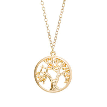Min 1pc Gold and Silver Plated Tree of Life Pendant Necklace Cute Tiny Tree in Circle Necklaces XL121