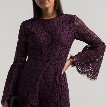 Long Frill Sleeve Crochet Waist Lace Zip Up Romper in Purple