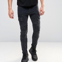 ASOS Super Skinny Jeans With Biker Cargo Styling at asos.com