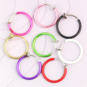 2017 Hot 8pcs 2016 New Gothic Punk Septum Clip On Fake Piercing Nose Lip Rings Hoop Navel Belly Ring Non-Piercing Body Jewelry