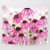 pink coneflower field Wall Tapestry by Color And Color
