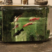 Fine Dunhill Reversed Carved and Painted Aquarium Lighter, 1950
