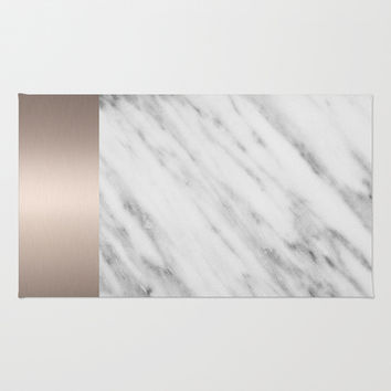 Carrara Italian Marble Holiday White Gold Edition Area & Throw Rug by cafelab
