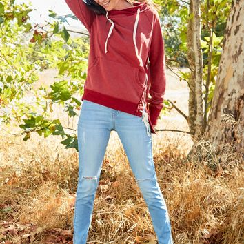 Jacqui Lace Up Sweatshirt - Red