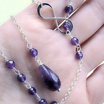 Silver chain lariat, long amethyst necklace, infinity pendant, gift for her, sterling silver necklace, minimal necklace, bohemian jewelry