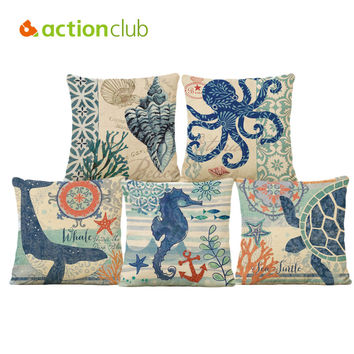 Actionclub Square Ocean Animal Octopus Starfish Printed Cushion Cover For Home Sofa Pillow Cover 15 Styles cojines decorativos