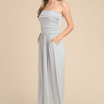 Simple and Stylish Maxi Dress - Silver