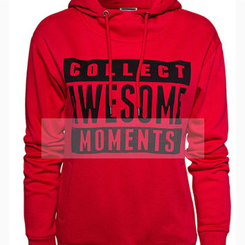 "Red ""Collect Awesome Moments ""Print Hoodie Jacket"