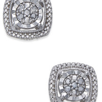 Diamond Cluster Miracle Plate Stud Earrings (1/10 ct. t.w.) in Sterling Silver - Jewelry & Watches - Macy's