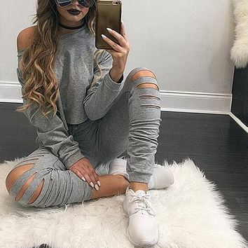 2018 Autumn Women Tracksuit 2 Piece Set Clothing Solid Sportwear Suit Woman Cutty Set Costumes