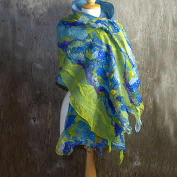 Felted scarf Nuno felted scarf Felt shawl merino wool chiffon silk  blue green yellow  felted art Autumn winter scarf
