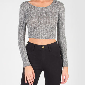 Long Sleeve Ribbed Knit Crop Top - Large - Heather Gray /