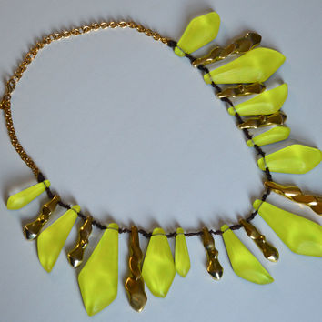 Alexis Bittar Neon Yellow Gold Lucite Statement Necklace