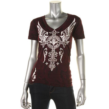 Affliction Womens Printed Rhinestone Graphic Tee