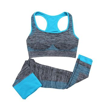 2017 New Yoga Sets Women Gym Clothes Cotton Blends Material Breathable Sports Bra + Pants Yoga Set Women
