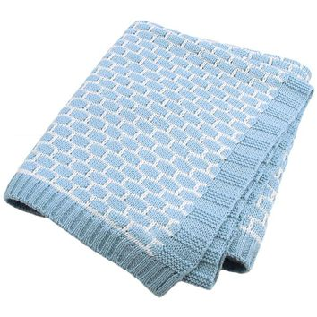 Azure Patterned Cotton Knit Hug Baby Blanket