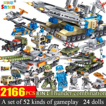 Snaen 2166 PCS Military Cruiser Aircraft Building Blocks Army Carrier Ship Bricks Boys Toys DIY Police Kits Compatible Legoed