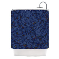 "Will Wild ""Blue & Gold Marble"" Navy Abstract Shower Curtain"