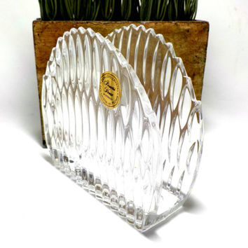 Crystal Napkin Holder, Princess House Lead Crystal Napkin Holder, Highlights Pattern, Made in West Germany