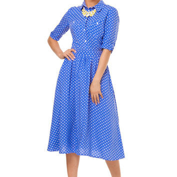 Bright Blue Summer Dress,Polka Dot Pin Up Dress,3/4 Sleeve, Vintage Style,Beach Fashion,vintage inspired