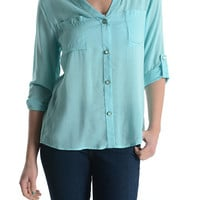 Solid Blouse with Buttons - Aqua