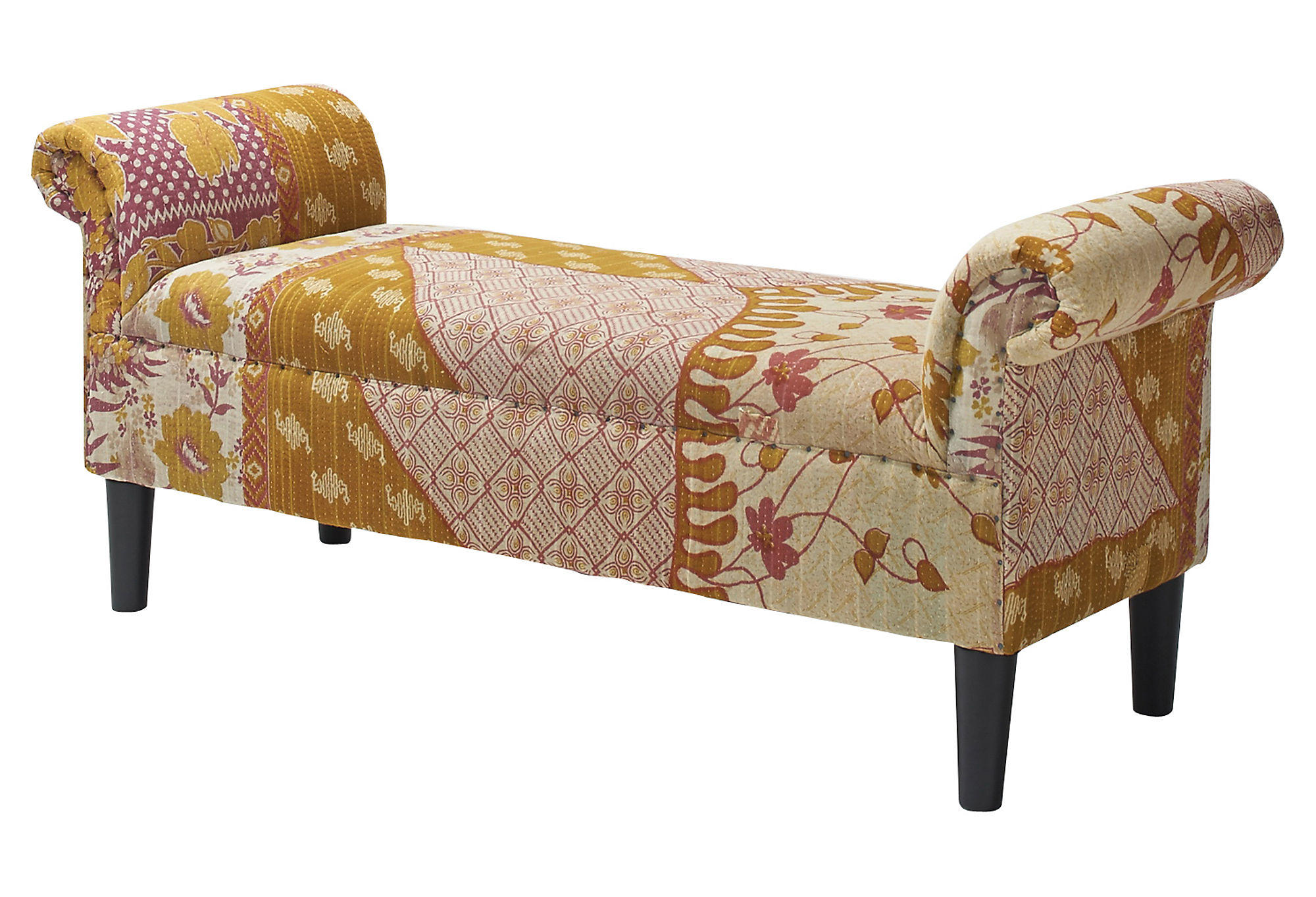 Kantha Roll Arm Bench Cream Gold From One Kings Lane Things I