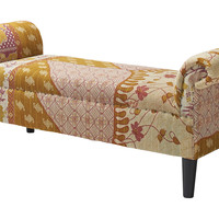 Kantha Roll-Arm Bench, Cream/Gold, Entryway Bench, Bedroom Bench