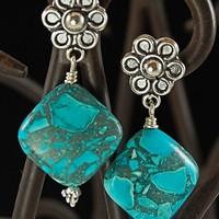 Mosaic Mix Turquoise Sterling Silver Earrings