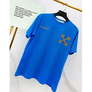 Off White Fashion New Letter Arrow Sponge Baby Cartoon Print Women Men Top T-Shirt Blue