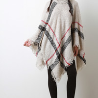 Linear Pattern Textured Knit Turtleneck Poncho